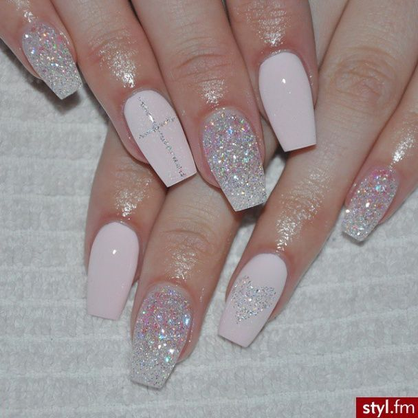 Glitter coffin nails, nail art design for summer