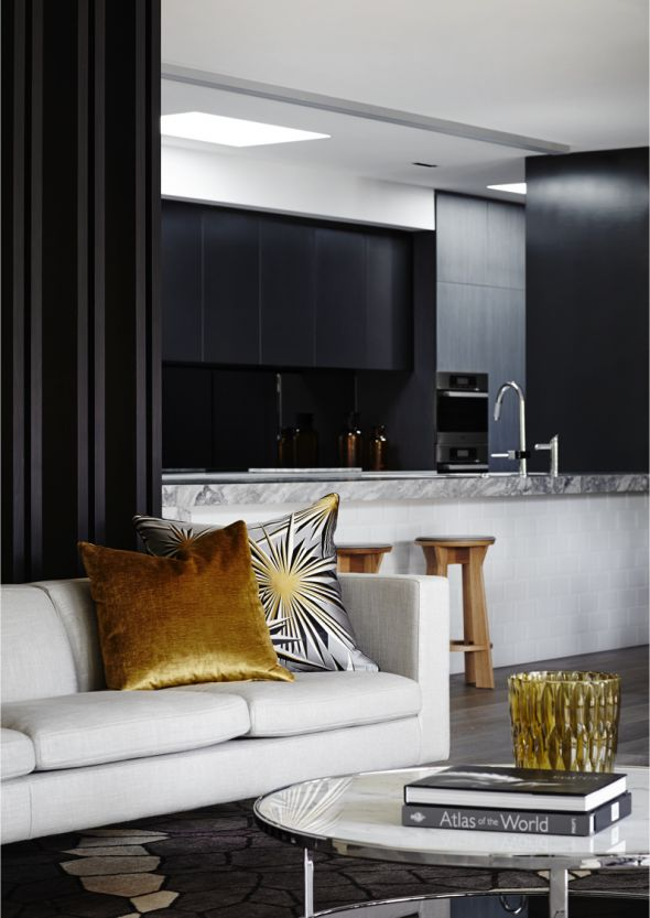 Christopher Elliott - more of the Templestowe black/marble/stylish kitchen. Note how the contrasting colours of the timber, soft furnishings and accessories really bring this kitchen to life.