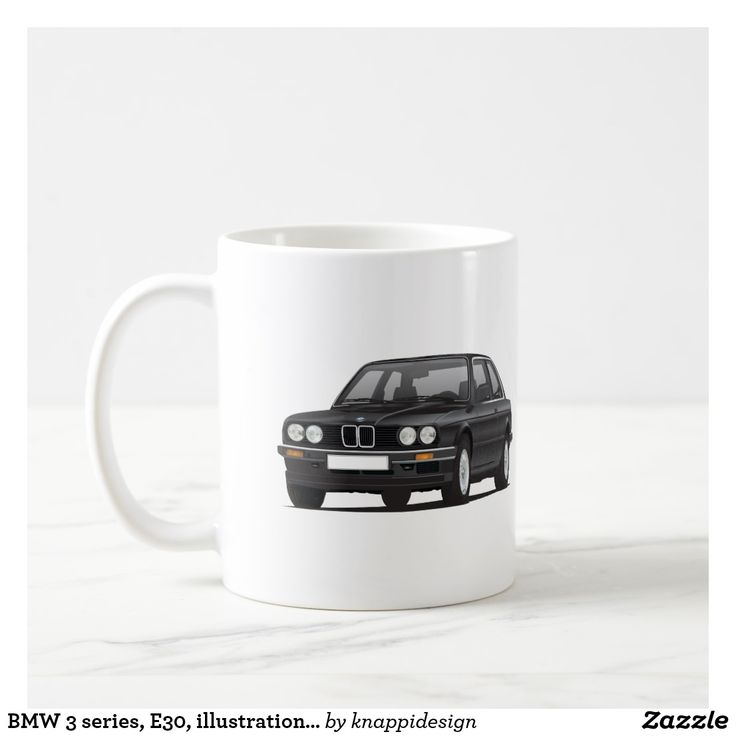 BMW 3 series, E30, illustration, black coffee mug. Check out other color options!  #bmw3 #bmwe30 #e30 #bmw #bmwmug #coffeemug #bmwillustration #classics #80s #3serie #german #germany #coffeemug #kaffemugg #muggar #kahvimukit #muki #bmwgift #carillustration