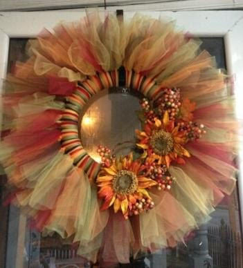 Fall Tulle Wreath by MascaraBoutique on Etsy, $35.00