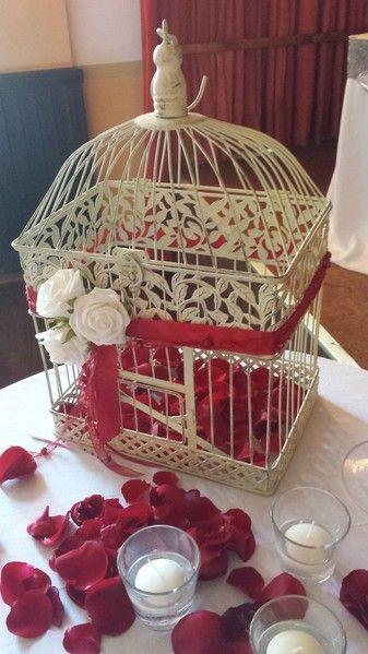Vogelkäfig, Box für Karten, rote Rosen, Tischdekoration, Hochzeitsdeko, centerpiece, wedding decoration