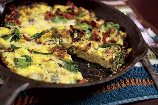 Recipe for Spinach, Bacon, and Gorgonzola Frittata   Food and Drink ...