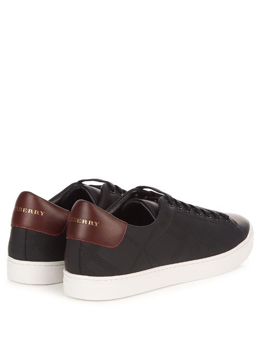 Albert perforated-check low-top leather trainers | Burberry