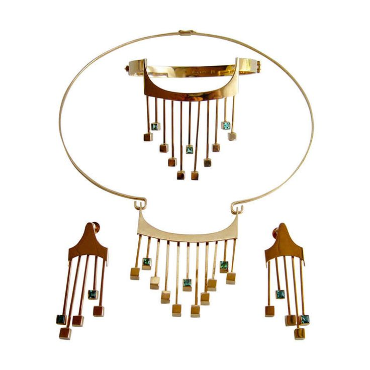 Paula Häiväoja for Kaunis Koru Tourmaline Gold Suite | From a unique collection of vintage choker necklaces at https://www.1stdibs.com/jewelry/necklaces/choker-necklaces/