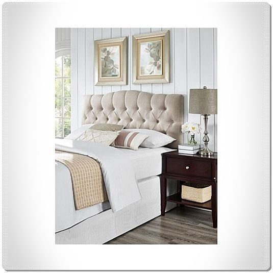MODERN HEADBOARD UPHOLSTERED BEDROOM FULL QUEEN BUTTON TUFTED ELEGANT LINEN #ThreePosts #Modern