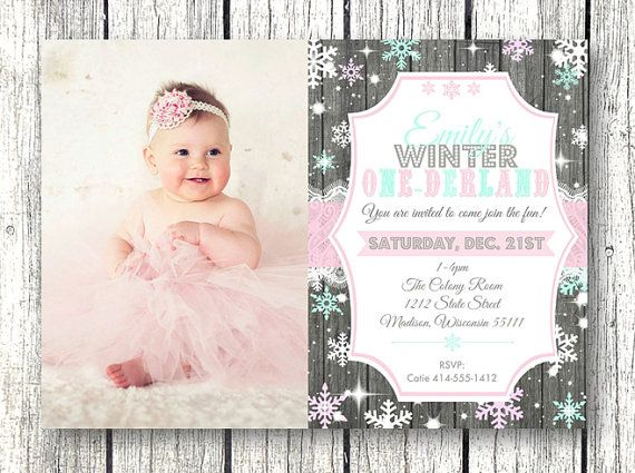 Winter One-derland onderland wonderland 1st birthday invitation rustic wood and lace with snowflakes!