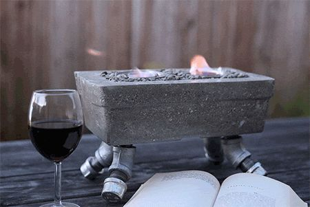 Understand working with concrete a little better by making your own unique tabletop firepit.