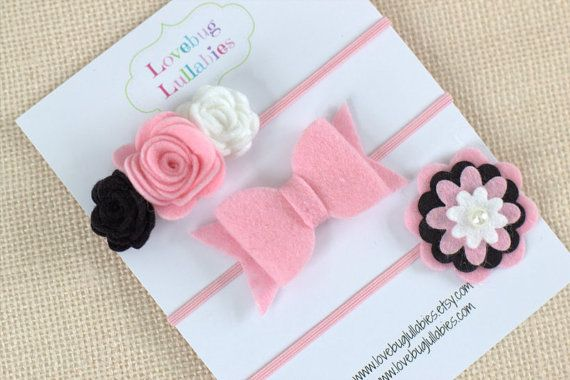 Felt Flower Bow Headband or Hair Clips Set of 3; Baby Newborn Toddler Child Felt Hair Accessories; Baby Shower Gift; Newborn Photo Prop