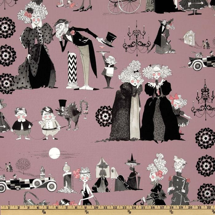 A Ghastly Night Ghastlies Reunion on Pink - Fabric By The Yard-H