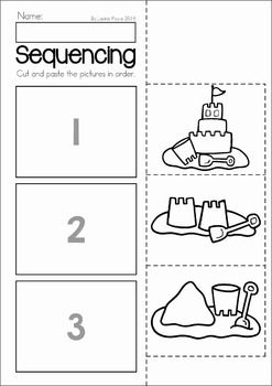 Summer Review Preschool No Prep Worksheets & Activities. Cut and paste the pictures in correct order to show the sequence for building a sandcastle.