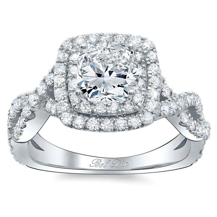 Cushion Cut Twisted Shank Double Halo Engagement Ring