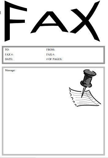 This printable fax cover sheet shows a large pushpin on a sheet of paper. The word Fax is displayed in large concave letters at the top. Free to download and print