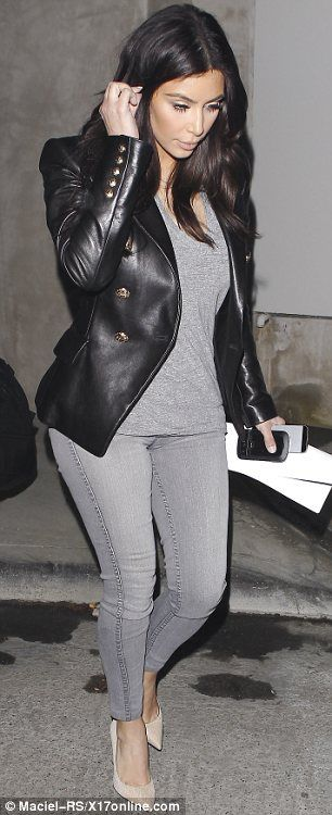 Grey matters: The reality star cleverly wore head-to-toe grey which is known to be very slimming