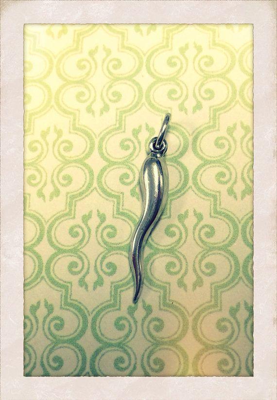 Vintage Italian Cornicello Horn Silver Tone Pendant on Etsy, $8.00