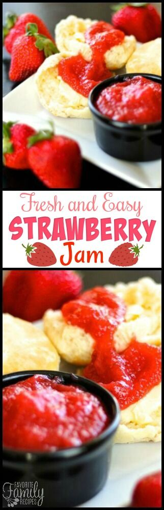 This Fresh and Easy Strawberry Jam is fresh and simple! It doesn't make up as much as freezer jam and there is no pectin! You are going to love it on toast! via @favfamilyrecipz