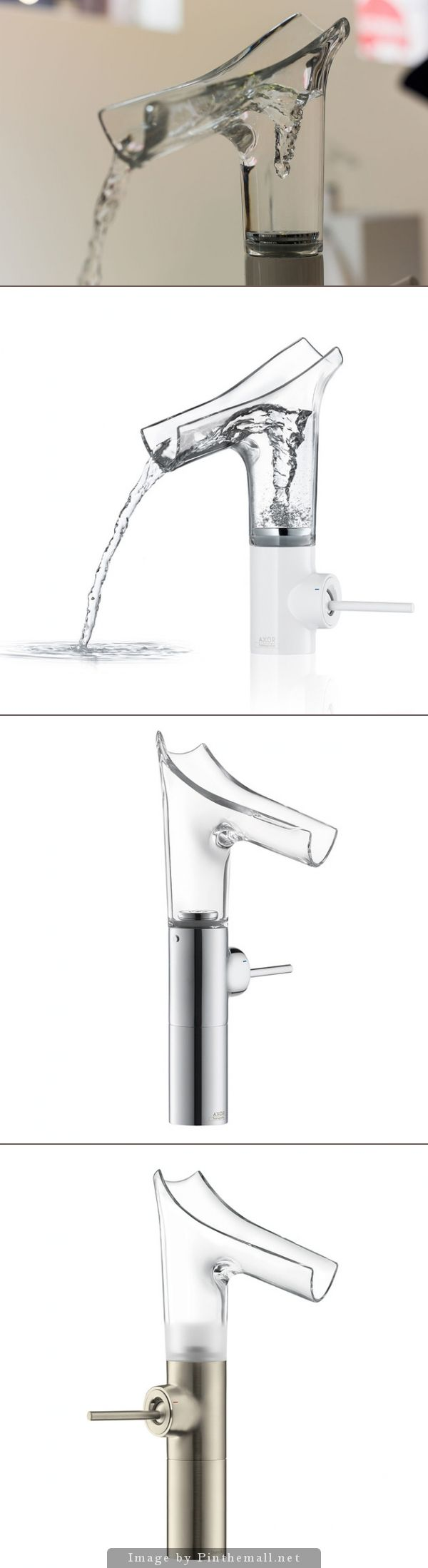 Faucet with Clear Glass Spout: Axor Stark V designed by Phillip Starck for a partnership between Hansgrohe and Axor. When the mixer is turned on, a water vortex is created -- and sent rushing up the glass spout where it cascades out like a waterfall. For single or two hole applications.