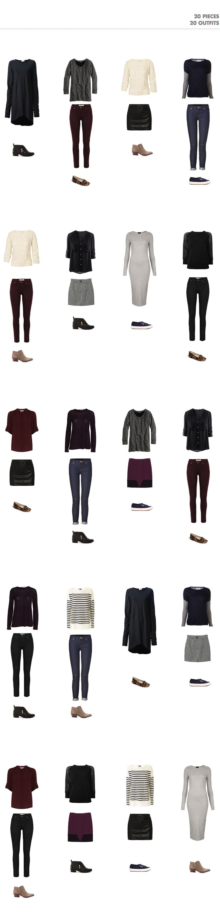 20 outfits with 20 pieces (into-mind) | SUMMER: http://into-mind.com/2013/07/14/20-pieces-20-outfits-part-i-building-a-wardrobe-structure/ | http://into-mind.com/2013/07/16/20-pieces-20-outfits-part-ii-the-outfits/