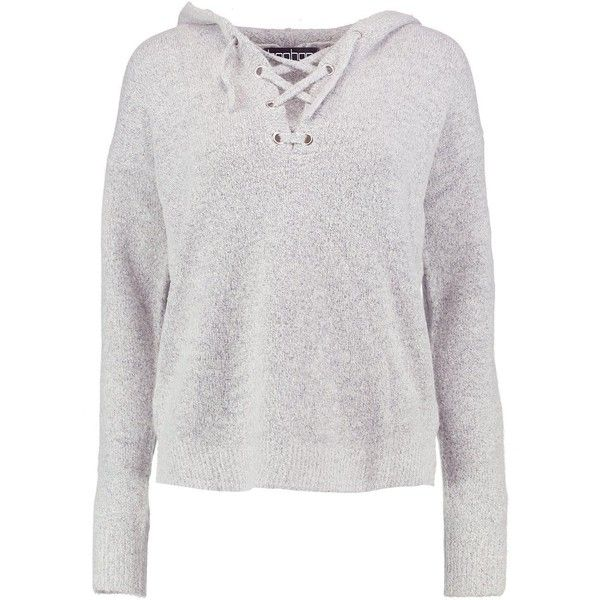Boohoo Natasha Lace Up Soft Knit Jumper ($18) ❤ liked on Polyvore featuring tops, sweaters, animal print sweaters, marled sweater, nordic sweater, knit sweater and party jumpers