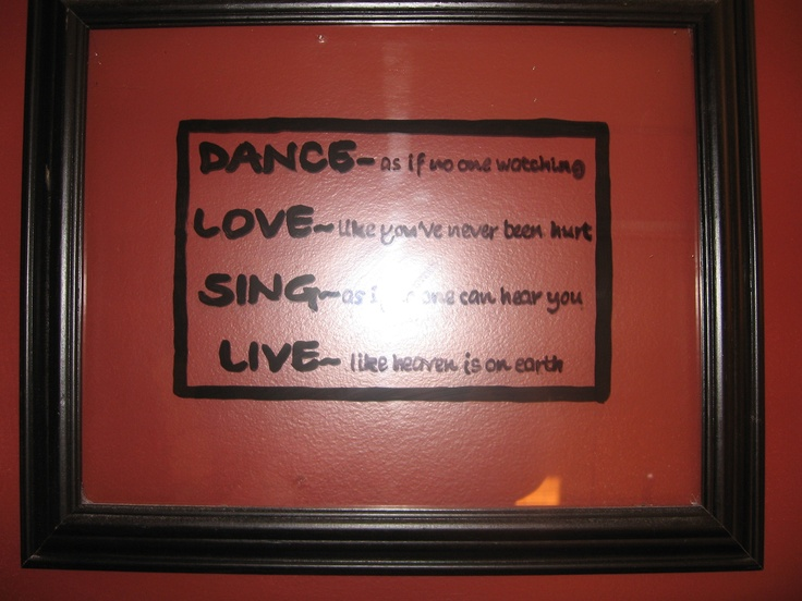 remove backing from picture frames, paint a message to hang on wall