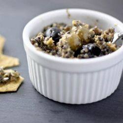 Classic tapenade dip - green & black olives, salty capers, tangy lemon juice and smooth olive oil.