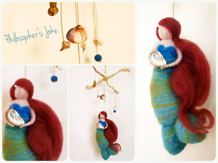 Felted mermaid mobile Waldorf inspired by Philosopher's Joke.