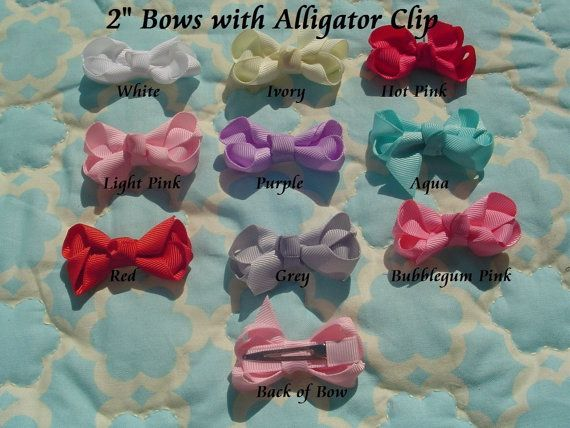 Set of FIVE 2 inch hair bows attached to an alligator clip on Etsy, $4.99