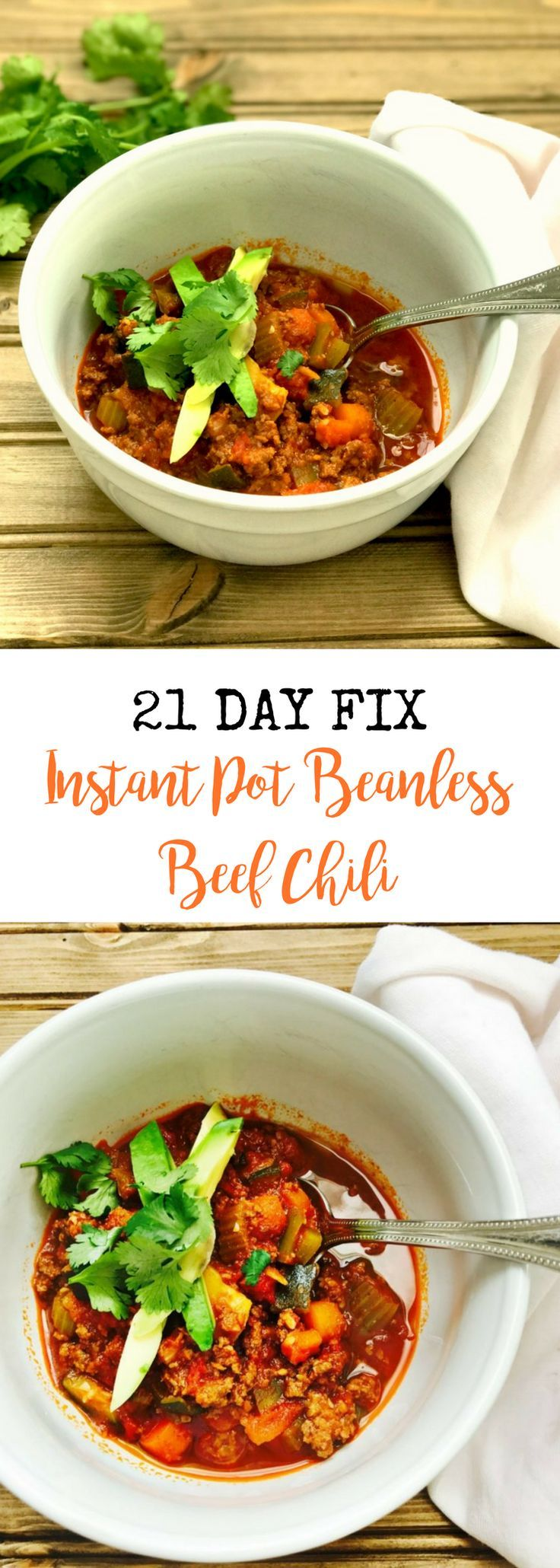 21 Day Fix Instant Pot Beanless Beef Chili {Paleo/Whole 30 Friendly} | Confessions of a Fit Foodie