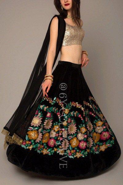Pretty black velvet lehenga for a sister of the bride #Frugal2Fab