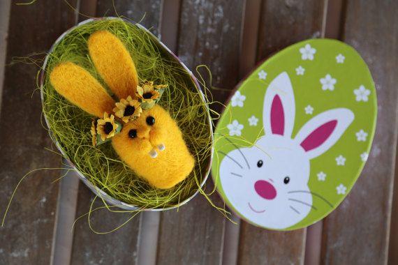 Needle felted Easter bunny. Yellow rabbit. Small by donidinadya