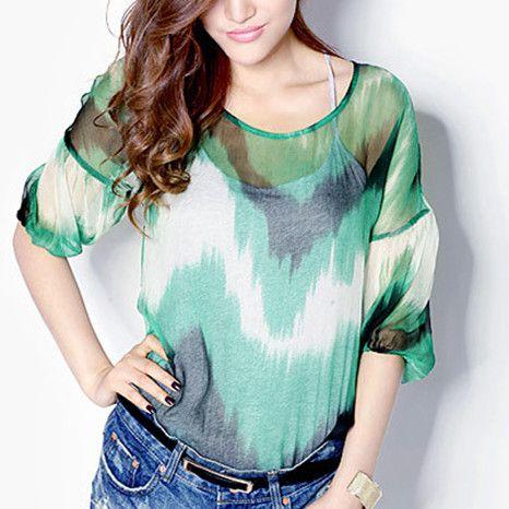 Green dip dye t shirt for women casual batwing sleeves tops