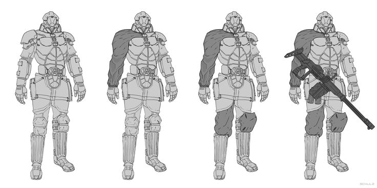 Security Uniform Concept Sketches, Craig Schulz on ArtStation at https://www.artstation.com/artwork/8129G