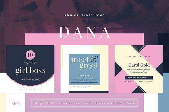 Dana Social Media Pack by AM Studio on @creativemarket super modern collection of 12 business-focused templates ready built for all major social networks, including Instagram, Pinterest, Facebook and Twitter. Created in a complementary palette, you can use them as they are or simply change colors and add your details to make them your own.