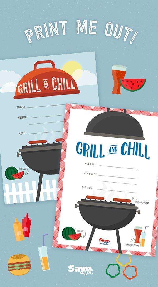 FREE Printable | Back Yard BBQ Invite | Potluck | Grilling Invite | Downloadable