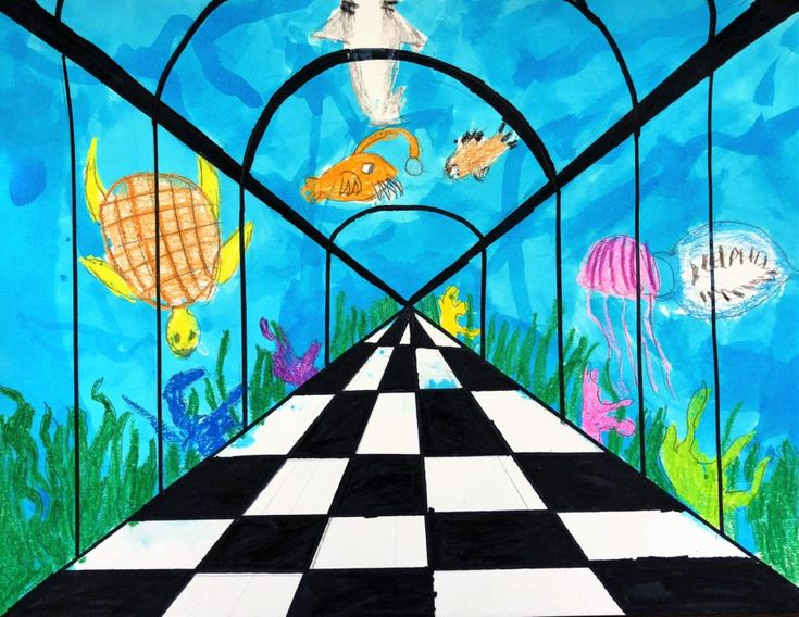 Aquarium Perspective Lesson Art for kids | Art education ...