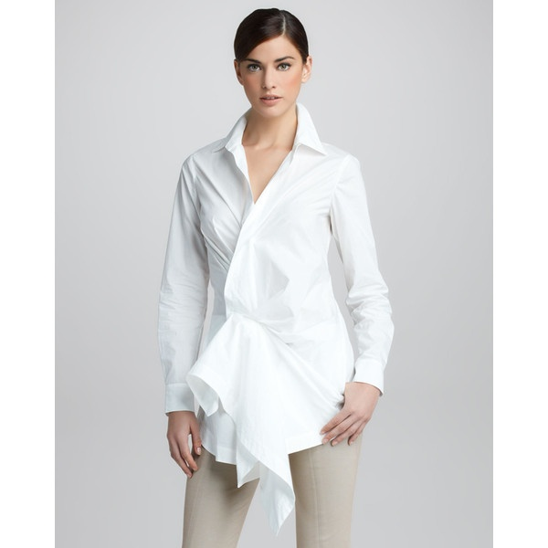 Donna Karan Paper Cotton Side-Draped Tunic ($895) found on Polyvore
