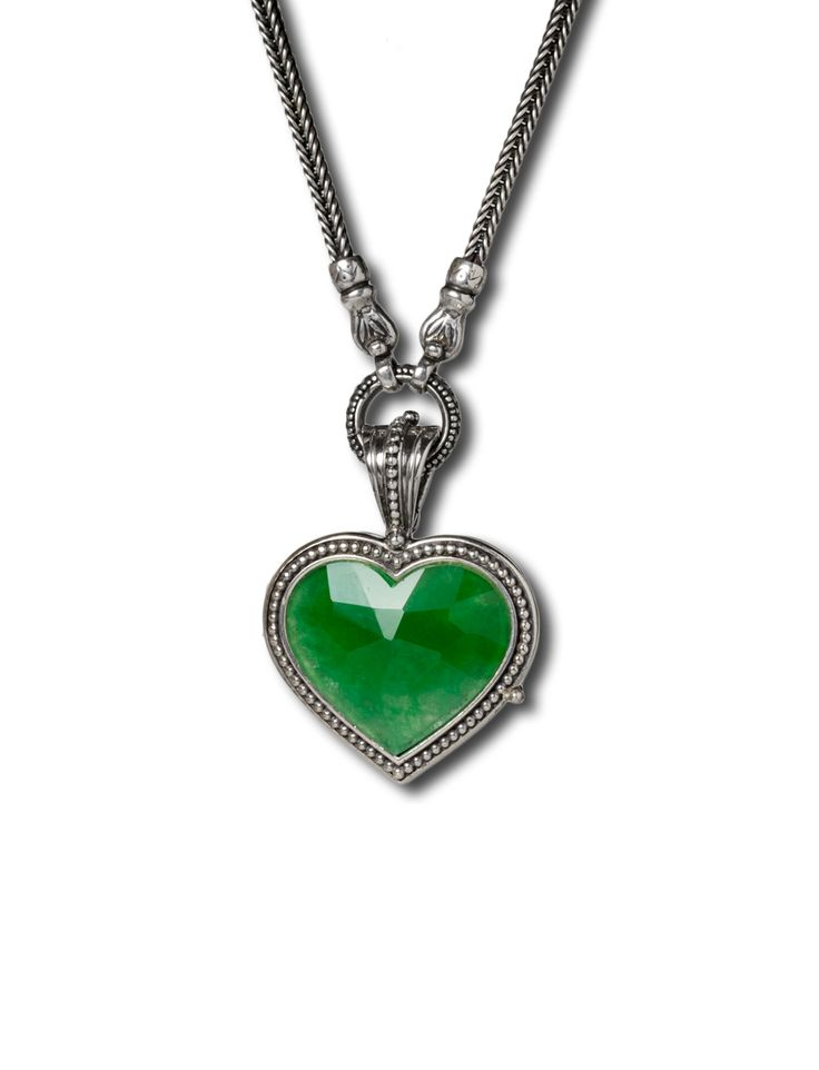 Gerochristo heart locket in sterling silver and jade stone.