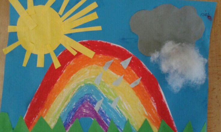 De zon, een regenbuitje en...de regenboog! Groep 1/2
