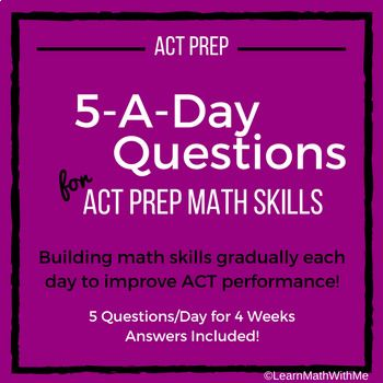 The 29 best act math prep images on pinterest maths mathematics math 5 a day act prep skills daily question sets for 4 weeks fandeluxe Image collections