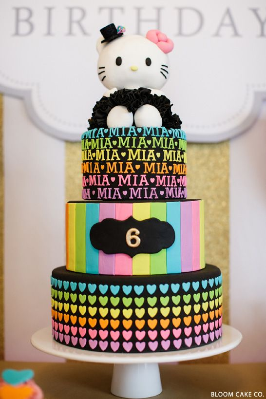 Love this Hello Kitty cake in Black & Rainbow Colours