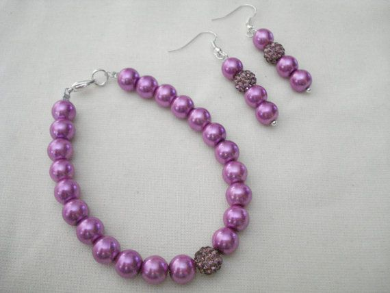 Purple pearl necklace Pearl jewelry Bridesmaid gift by Poppyg