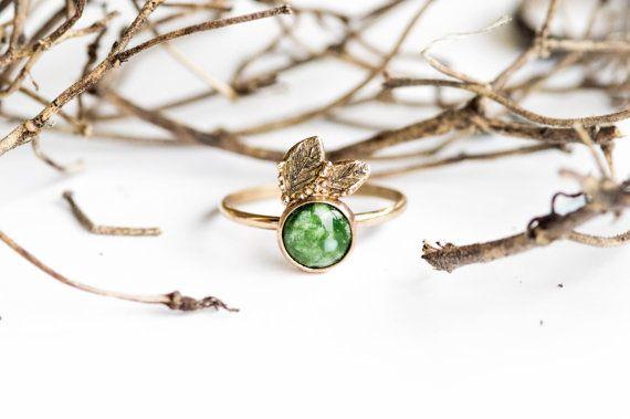 Natural green turquoise leaf 14k gold ring, 14k gold engagement ring, lead nature engagement promise ring