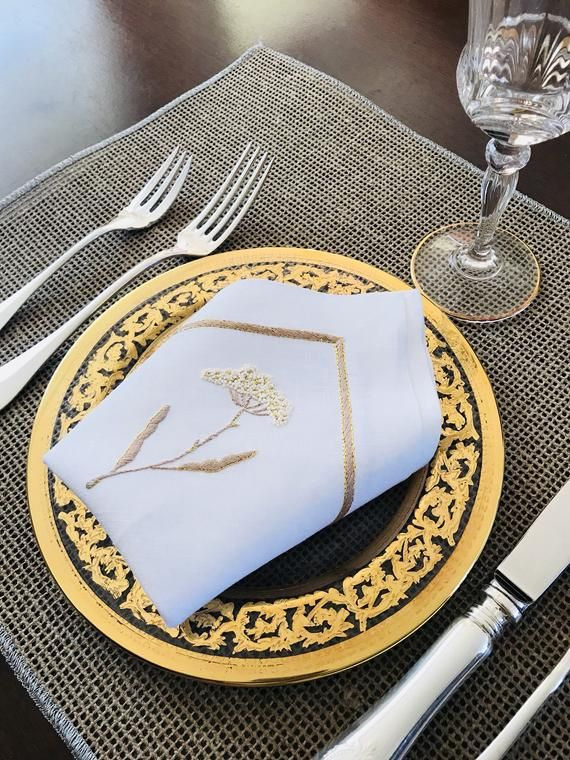 Handmade 24k Gold Thread Embroidery On A Pure French Linen Napkins France Homedecor Linen Napkin Placemats Cockta Pure Products French Linen Gold Threads