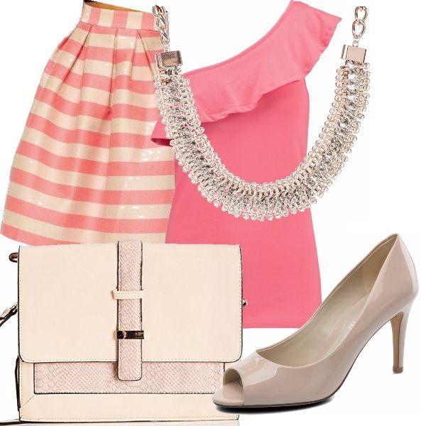 Rosa di sera...bel tempo si spera. Indossa una maxi gonna a righe sulle tonalità del rosa abbinata a un top monospalla con volant. Gli accessori rosa pastello e la collana sfavillante ti renderanno perfetta!