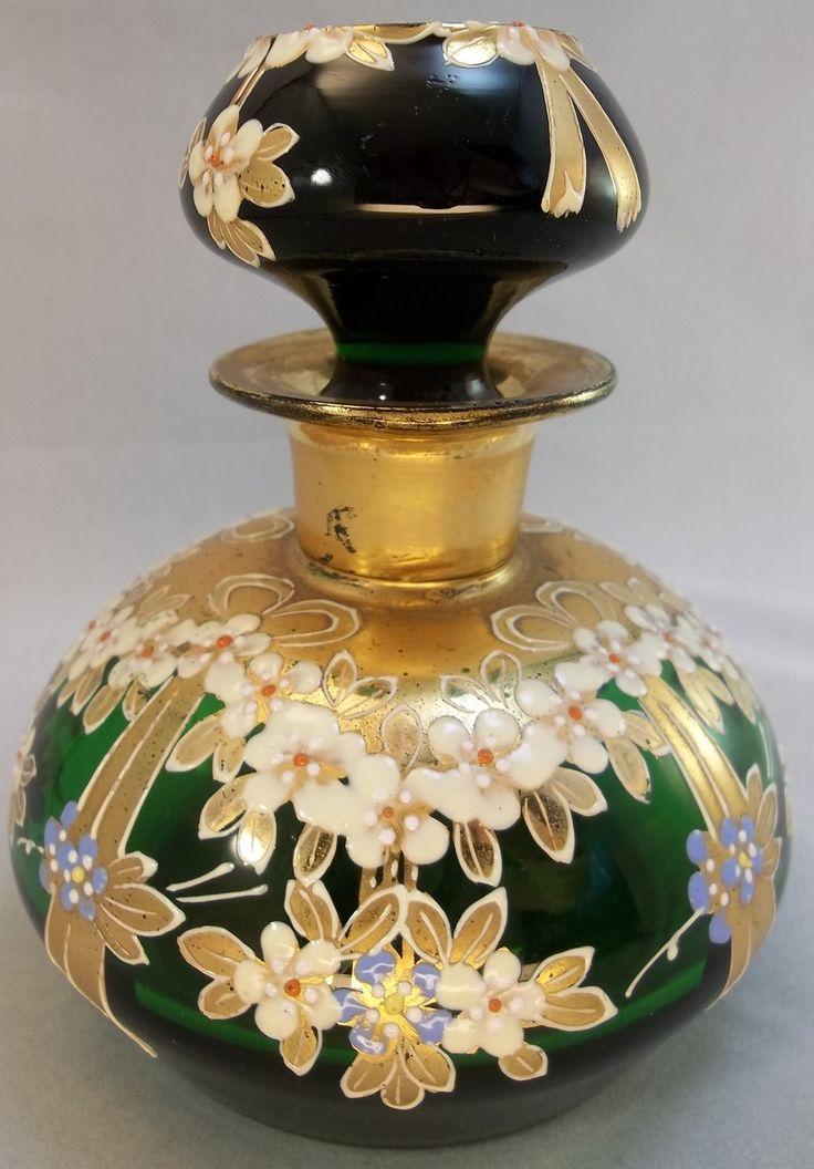 Vintage Bohemian Gilded Raised Flowers Hand Painted Green Vanity Perfume Bottle