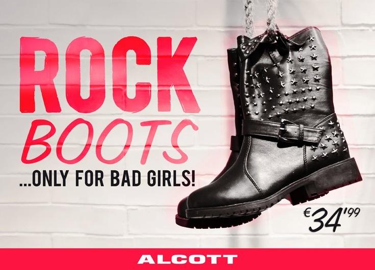 """Forte, Energica, SEXY. L'anima Rock ha molto da raccontare: capelli e look deciso esaltano i tratti di UNA DONNA che sa perfettamente COSA VUOLE! Se ti riconosci in questa descrizione, non ti resta che Indossare i nuovi """"Rock Boots"""" di ALCOTT e raccontare chi sei: uno stile aggressivo fatto di pelle e borchie adatto alle grandi personalità!   Il look da dure ha conquistato davvero tutte …è l'era della DONNA ROCK, non provate a chiamarla sesso debole ;)!!!"""