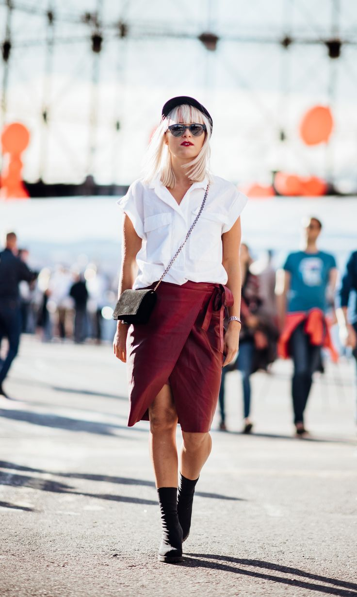 outfit, style, autumn, fall, blogger, inspiration, photography, street style, sunnies, street, goofy, tickle your fancy, sara, fashion, long bob, blonde, hair, blonde hair, leather, skirt, leather skirt, red skirt, hat, white shirt, bag, purse, festival style, festival,