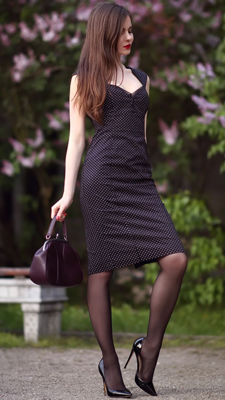 pattern black tights with black dress - 736×1309