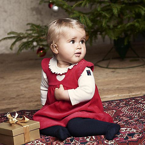 Polarn O. Pyret Baby Velour Dress, Red Online at johnlewis.com