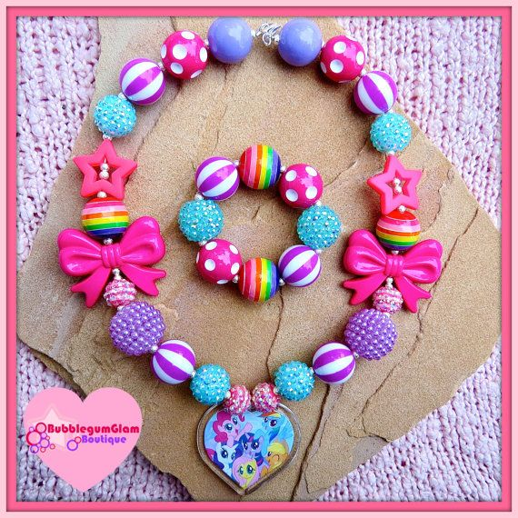 My Little Pony Chunky Necklace, MLP necklace, Rainbow Dash, Pinkie Pie, FlutterShy, Rarity, Apple Jack, Twilight Sparkle, Bubblegum Necklace