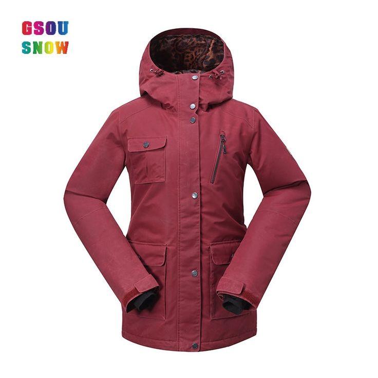 110.40$  Watch now - http://alispd.worldwells.pw/go.php?t=32691600379 - 2017 Gsou Snow Women's Ski Jacket Winter Female Snowboard Jacket Cotton Red Snow Coat Waterproof Windproof Plus Size Ski Clothes